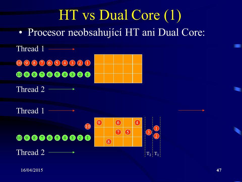 16/04/201547 HT vs Dual Core (1) Procesor neobsahující HT ani Dual Core: Thread 1 Thread 2 Thread 1 Thread 2 T2T2 T1T1 12345678910 123456789 123456789