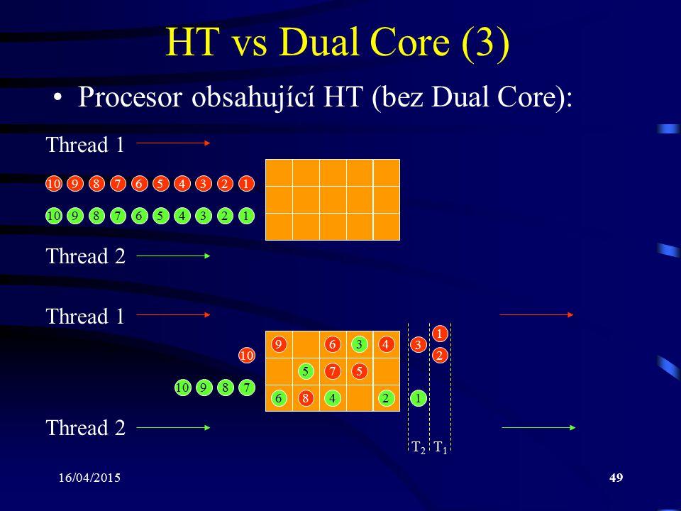 16/04/201549 HT vs Dual Core (3) Procesor obsahující HT (bez Dual Core): Thread 1 Thread 2 Thread 1 Thread 2 T2T2 T1T1 12345678910 123456789 12 3 4 5