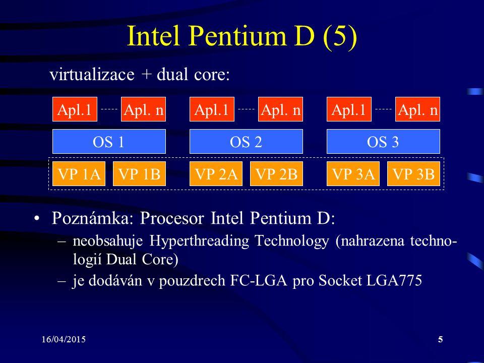 16/04/20155 Intel Pentium D (5) virtualizace + dual core: OS 1 Apl.1Apl. n VP 1A OS 2OS 3 Apl.1Apl. nApl.1Apl. n VP 1BVP 2AVP 2BVP 3AVP 3B Poznámka: P
