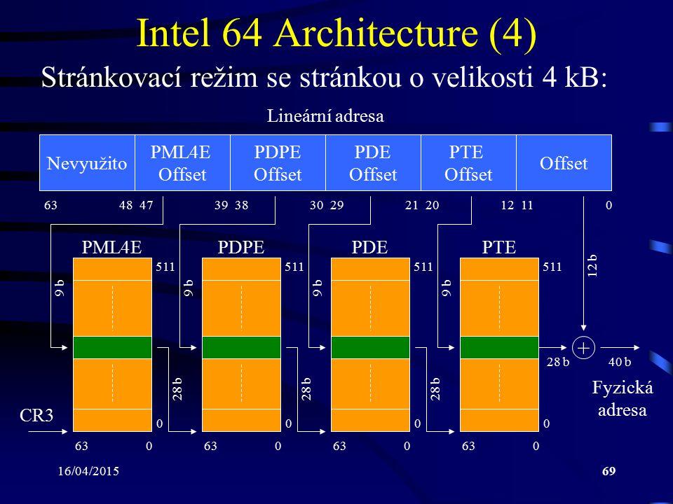 16/04/201569 Intel 64 Architecture (4) Stránkovací režim se stránkou o velikosti 4 kB: Nevyužito PML4E Offset PDPE Offset PDE Offset PTE Offset Offset
