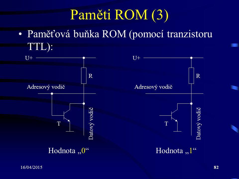 """16/04/201582 Paměti ROM (3) Paměťová buňka ROM (pomocí tranzistoru TTL): Hodnota """"0"""" Adresový vodič Datový vodič U+ R Hodnota """"1"""" Adresový vodič Datov"""