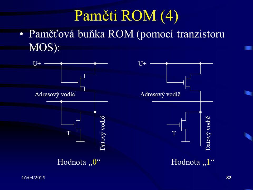 """16/04/201583 Paměti ROM (4) Paměťová buňka ROM (pomocí tranzistoru MOS): Hodnota """"0"""" Adresový vodič Datový vodič U+ Hodnota """"1"""" T Adresový vodič Datov"""