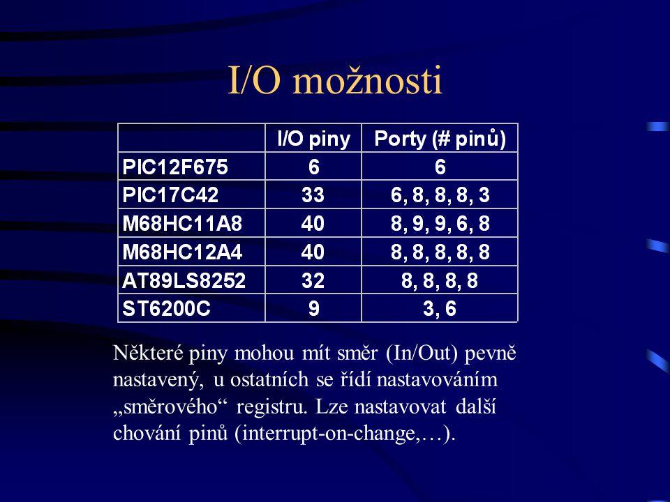 """I/O možnosti Některé piny mohou mít směr (In/Out) pevně nastavený, u ostatních se řídí nastavováním """"směrového"""" registru. Lze nastavovat další chování"""