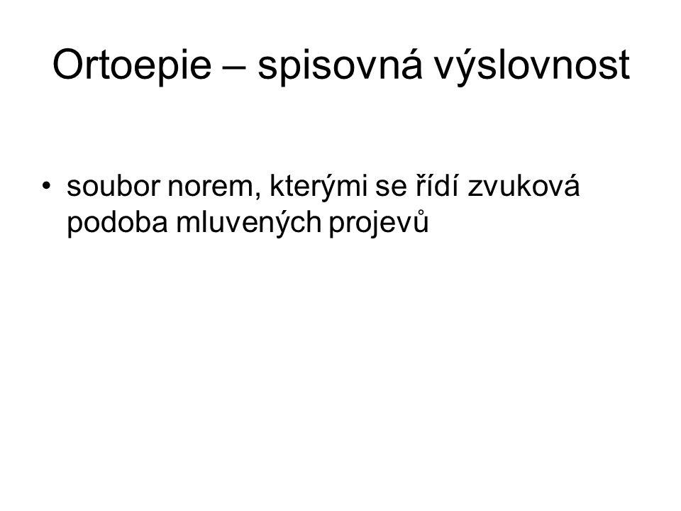 Ortoepie – spisovná výslovnost soubor norem, kterými se řídí zvuková podoba mluvených projevů