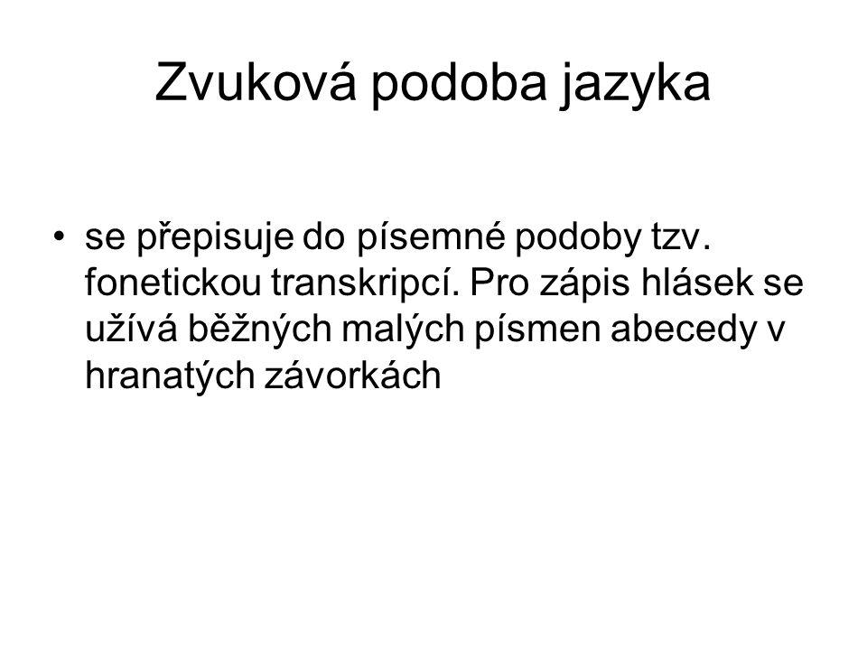Zvuková podoba jazyka se přepisuje do písemné podoby tzv. fonetickou transkripcí. Pro zápis hlásek se užívá běžných malých písmen abecedy v hranatých