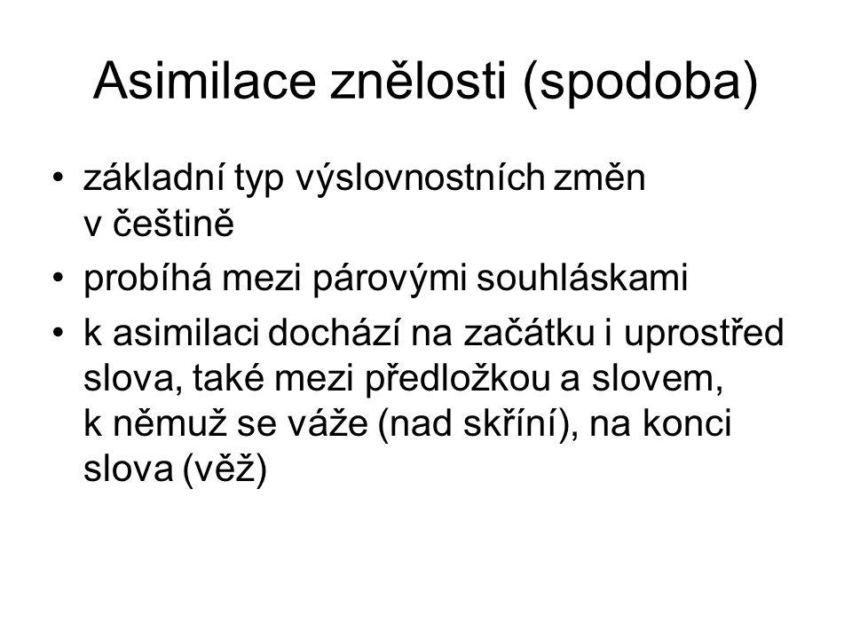 Asimilace znělosti (spodoba) základní typ výslovnostních změn v češtině probíhá mezi párovými souhláskami k asimilaci dochází na začátku i uprostřed slova, také mezi předložkou a slovem, k němuž se váže (nad skříní), na konci slova (věž)