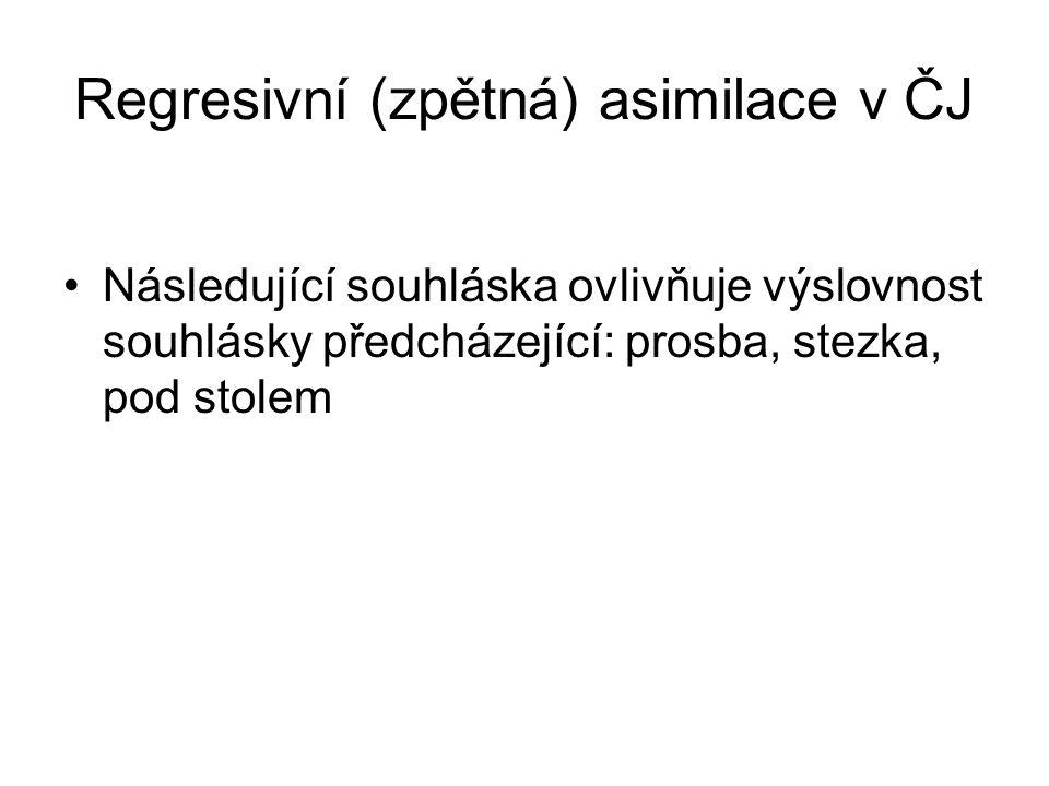 Regresivní (zpětná) asimilace v ČJ Následující souhláska ovlivňuje výslovnost souhlásky předcházející: prosba, stezka, pod stolem