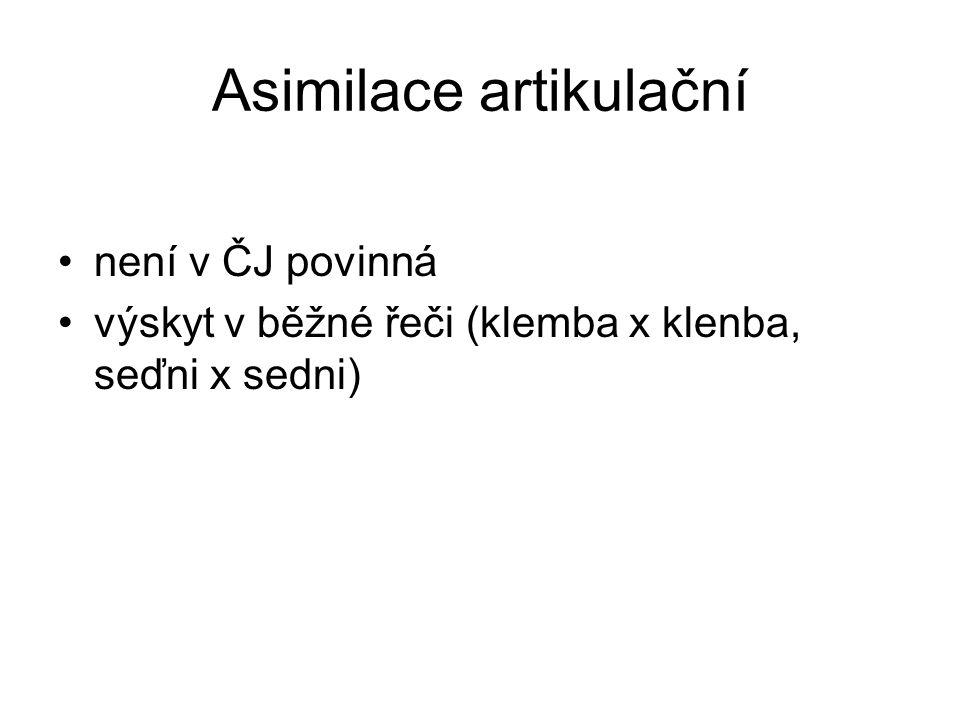 Asimilace artikulační není v ČJ povinná výskyt v běžné řeči (klemba x klenba, seďni x sedni)