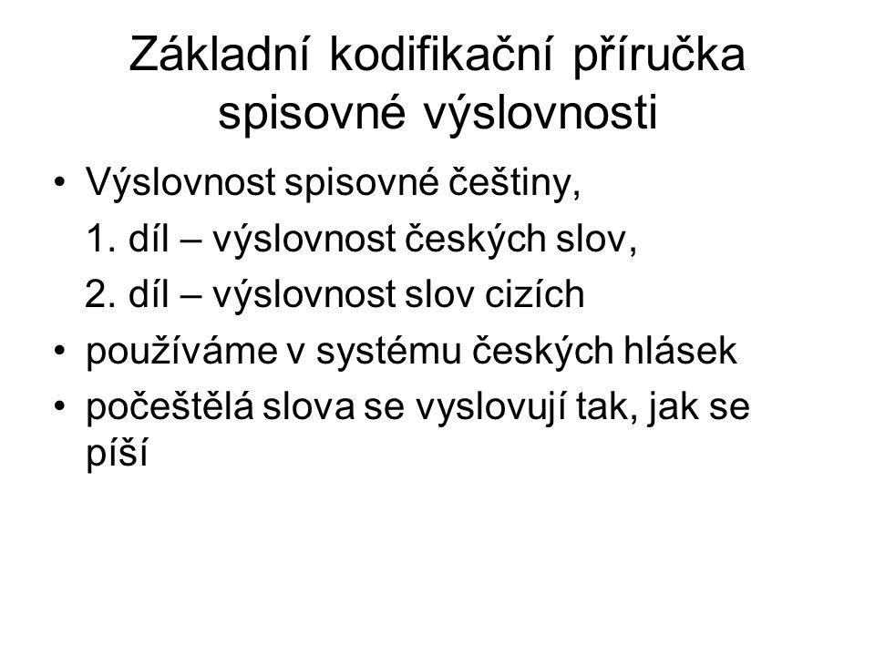 Základní kodifikační příručka spisovné výslovnosti Výslovnost spisovné češtiny, 1. díl – výslovnost českých slov, 2. díl – výslovnost slov cizích použ