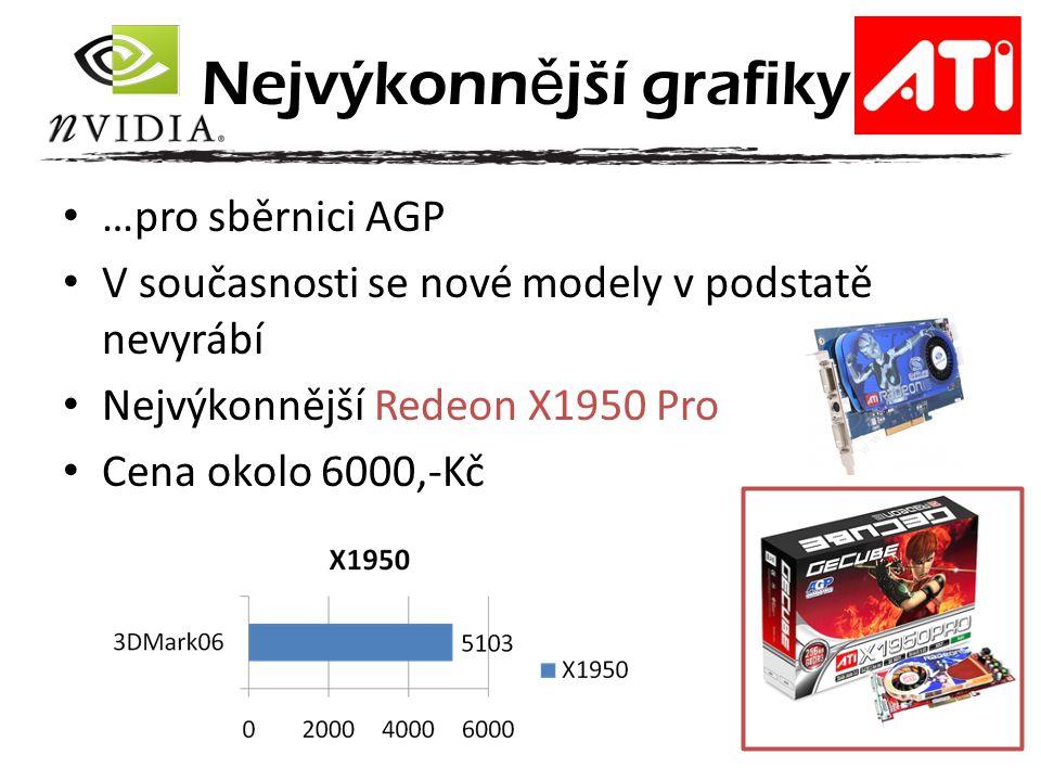 …pro sběrnici AGP V současnosti se nové modely v podstatě nevyrábí Nejvýkonnější Redeon X1950 Pro Cena okolo 6000,-Kč Nejvýkonn ě jší grafiky
