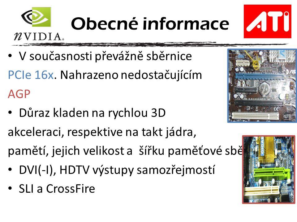 Obecné informace V současnosti převážně sběrnice PCIe 16x.