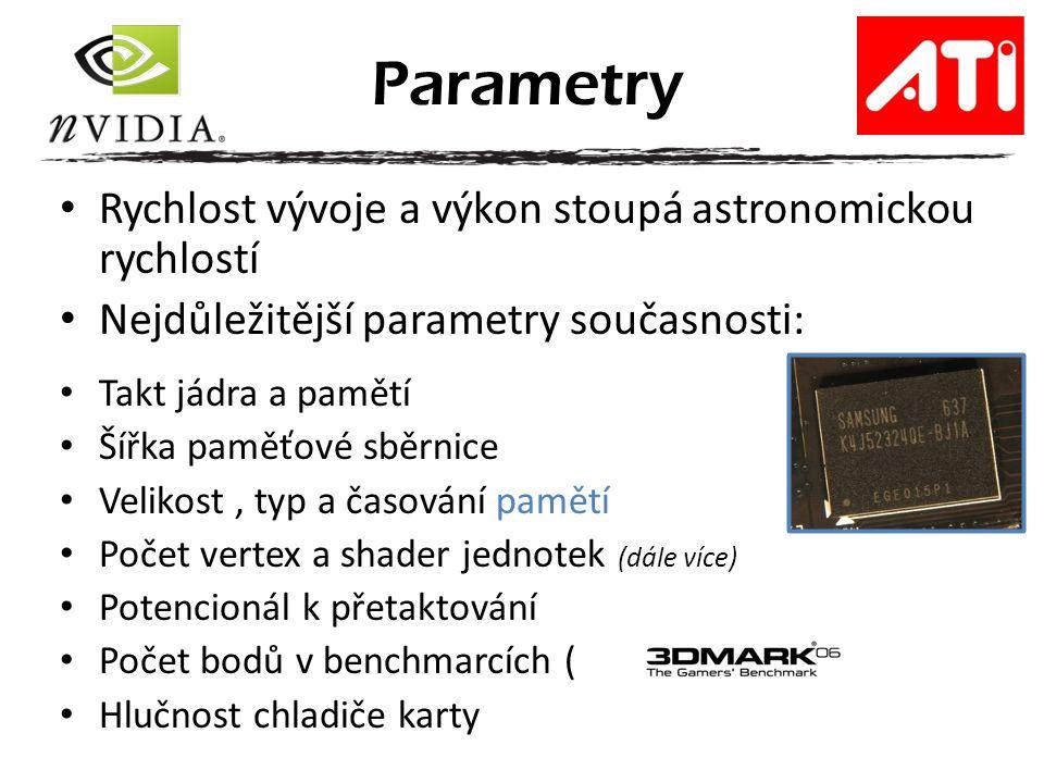 Rychlost vývoje a výkon stoupá astronomickou rychlostí Nejdůležitější parametry současnosti: Takt jádra a pamětí Šířka paměťové sběrnice Velikost, typ