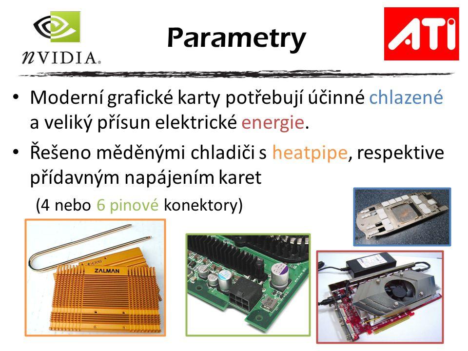 Moderní grafické karty potřebují účinné chlazené a veliký přísun elektrické energie. Řešeno měděnými chladiči s heatpipe, respektive přídavným napájen