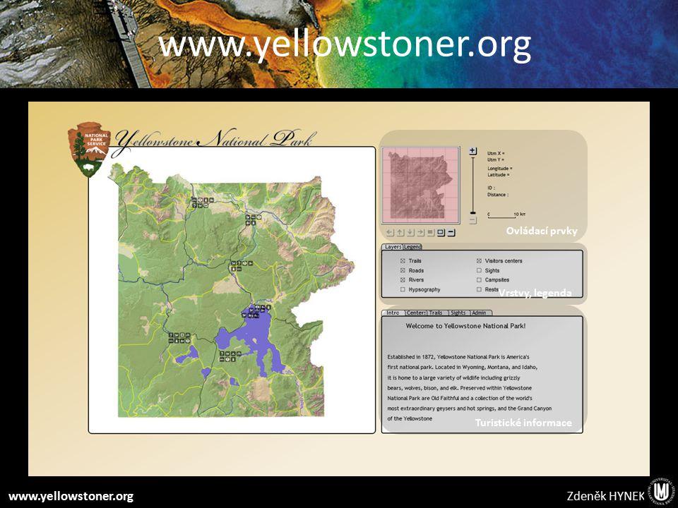 Zdeněk HYNEKwww.yellowstoner.org Ovládací prvky Vrstvy, legenda Turistické informace