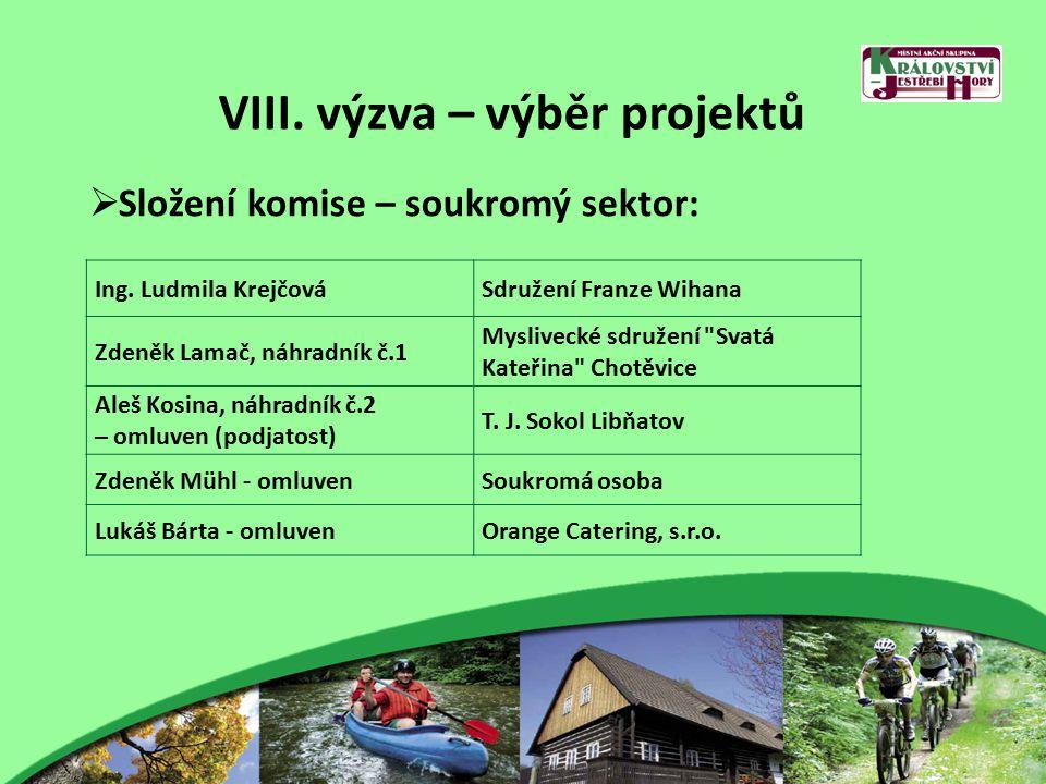VIII. výzva – výběr projektů  Složení komise – soukromý sektor: Ing.