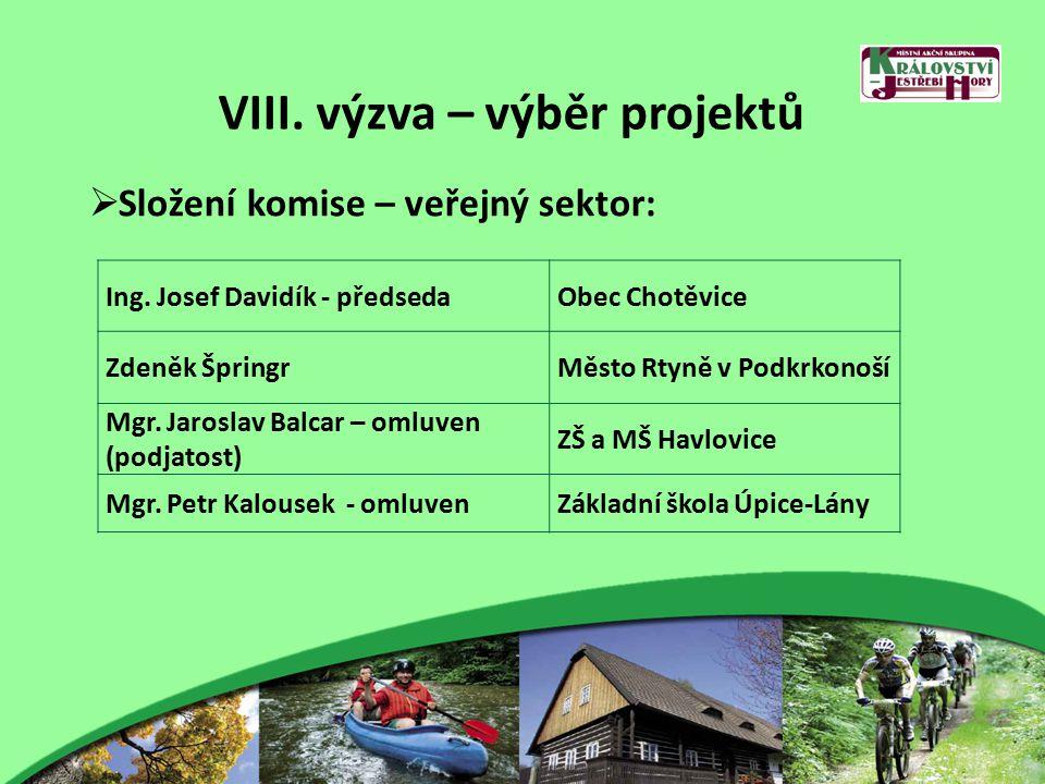 VIII. výzva – výběr projektů  Složení komise – veřejný sektor: Ing.