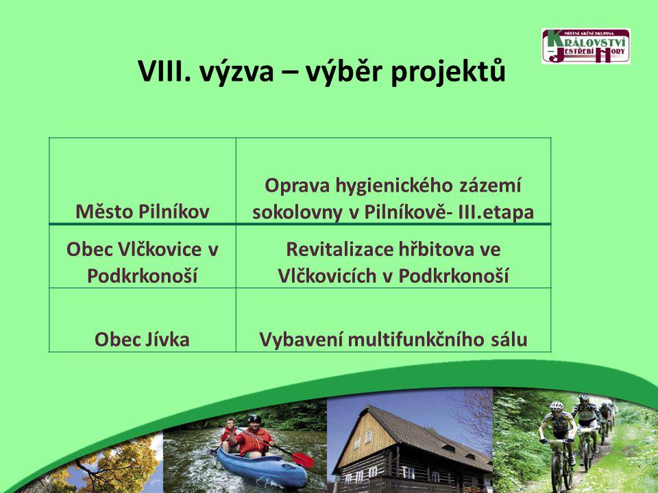 VIII. výzva – výběr projektů Město Pilníkov Oprava hygienického zázemí sokolovny v Pilníkově- III.etapa Obec Vlčkovice v Podkrkonoší Revitalizace hřbi