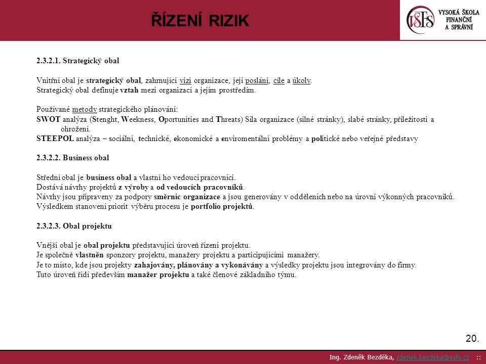 20. Ing. Zdeněk Bezděka, zdenek.bezdeka@vsfs.cz ::zdenek.bezdeka@vsfs.cz ŘÍZENÍ RIZIK 2.3.2.1. Strategický obal Vnitřní obal je strategický obal, zahr