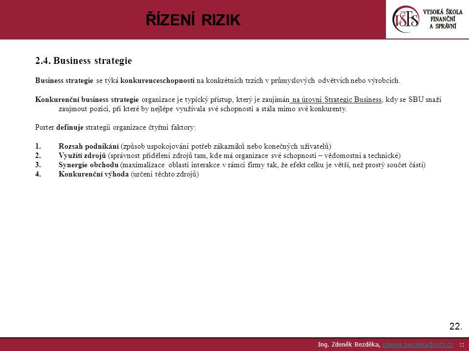 22. Ing. Zdeněk Bezděka, zdenek.bezdeka@vsfs.cz ::zdenek.bezdeka@vsfs.cz ŘÍZENÍ RIZIK 2.4. Business strategie Business strategie se týká konkurencesch