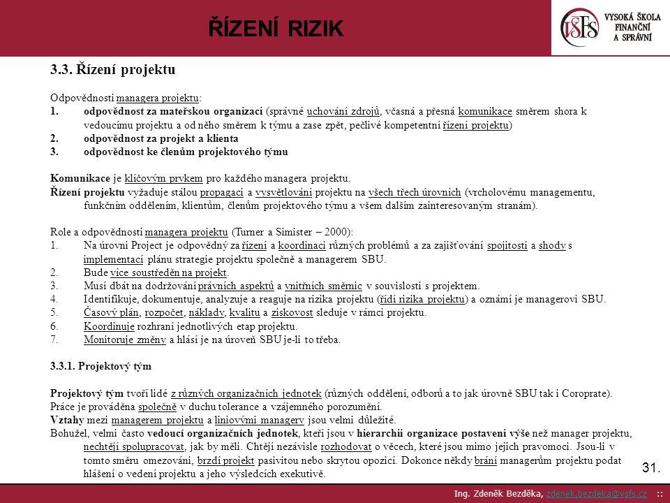 31. Ing. Zdeněk Bezděka, zdenek.bezdeka@vsfs.cz ::zdenek.bezdeka@vsfs.cz ŘÍZENÍ RIZIK 3.3. Řízení projektu Odpovědnosti managera projektu: 1.odpovědno