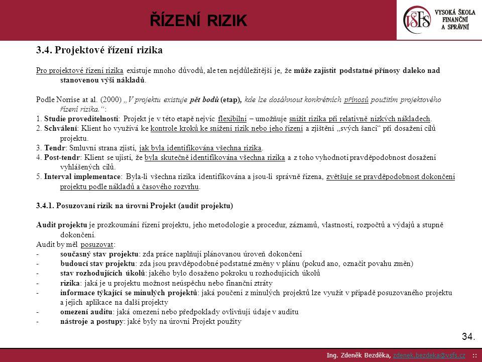 34. Ing. Zdeněk Bezděka, zdenek.bezdeka@vsfs.cz ::zdenek.bezdeka@vsfs.cz ŘÍZENÍ RIZIK 3.4. Projektové řízení rizika Pro projektové řízení rizika exist
