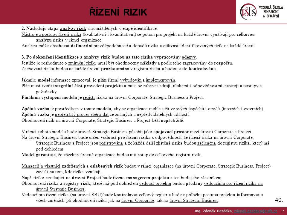 40. Ing. Zdeněk Bezděka, zdenek.bezdeka@vsfs.cz ::zdenek.bezdeka@vsfs.cz ŘÍZENÍ RIZIK 2. Následuje etapa analýzy rizik shromážděných v etapě identifik