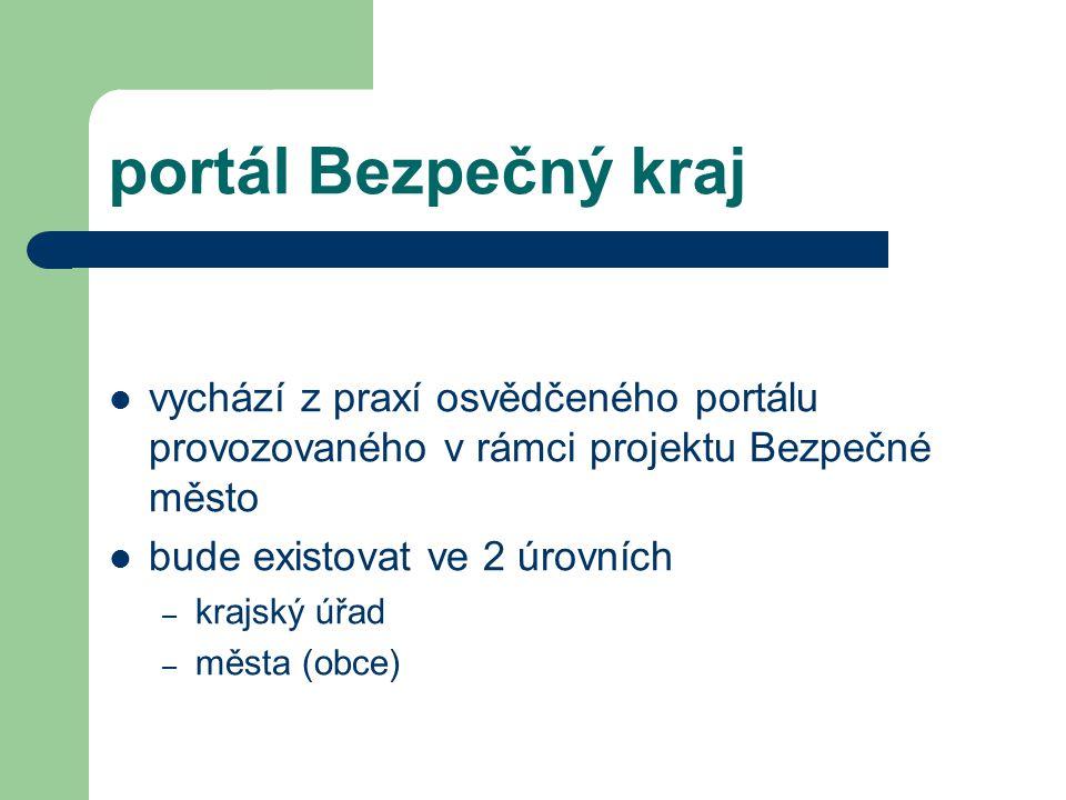 portál Bezpečný kraj vychází z praxí osvědčeného portálu provozovaného v rámci projektu Bezpečné město bude existovat ve 2 úrovních – krajský úřad – města (obce)