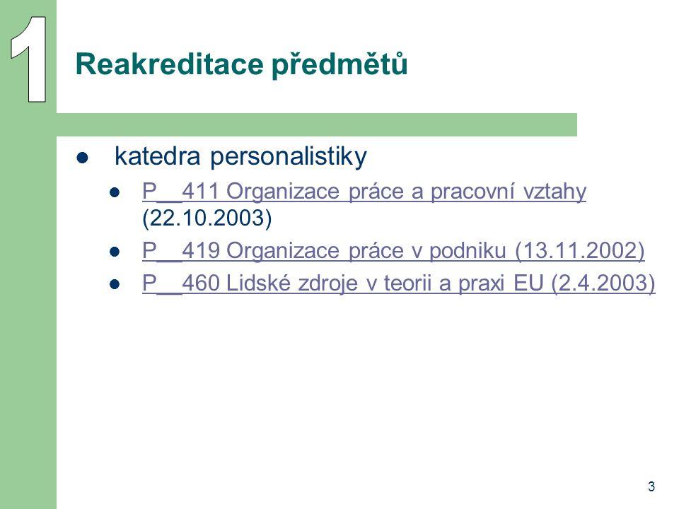 3 Reakreditace předmětů katedra personalistiky P__411 Organizace práce a pracovní vztahy (22.10.2003) P__411 Organizace práce a pracovní vztahy P__419 Organizace práce v podniku (13.11.2002) P__460 Lidské zdroje v teorii a praxi EU (2.4.2003)
