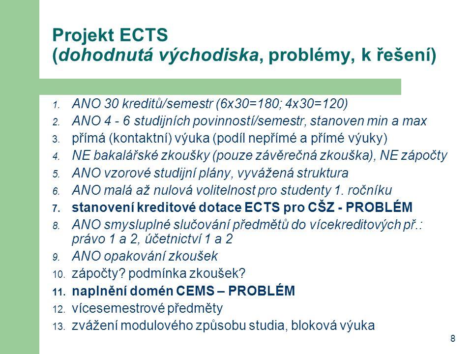8 Projekt ECTS (dohodnutá východiska, problémy, k řešení) 1.