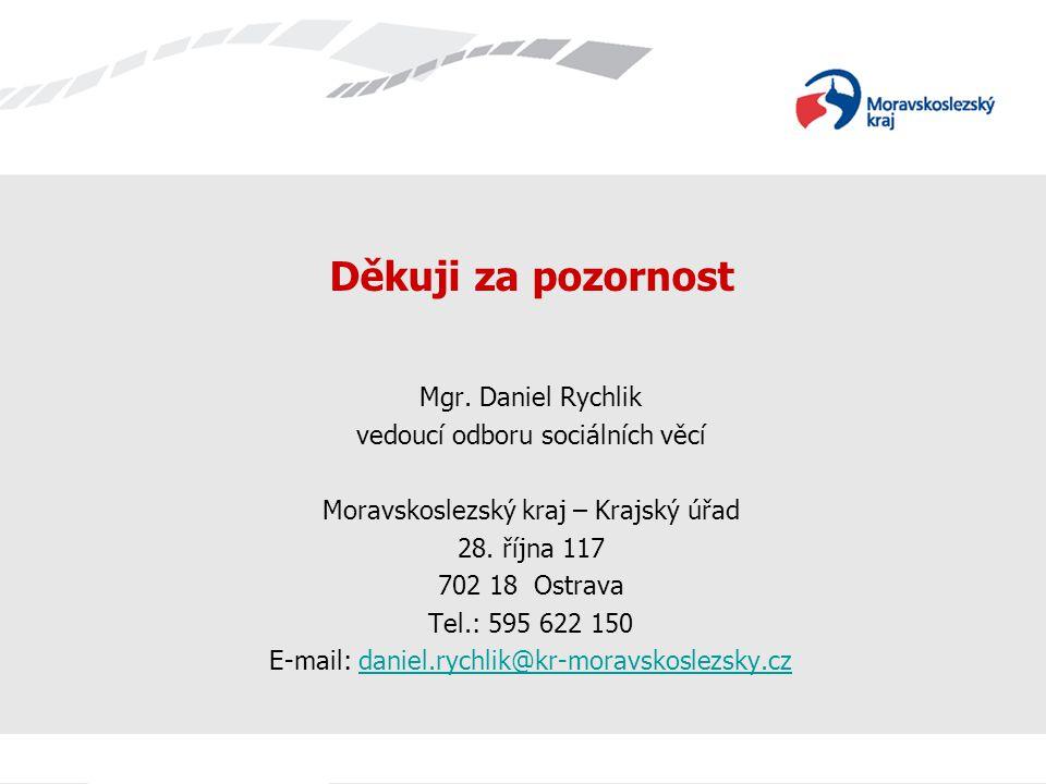 Děkuji za pozornost Mgr. Daniel Rychlik vedoucí odboru sociálních věcí Moravskoslezský kraj – Krajský úřad 28. října 117 702 18 Ostrava Tel.: 595 622