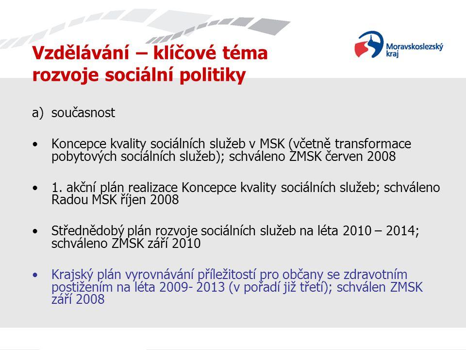 Vzdělávání – klíčové téma rozvoje sociální politiky b) kontinuita Koncepce sociálních služeb v Moravskoslezském kraji; schváleno ZMSK 2004 Střednědobý plán rozvoje sociálních služeb v Moravskoslezském kraji na rok 2008 – 2009; schváleno ZMSK 2007