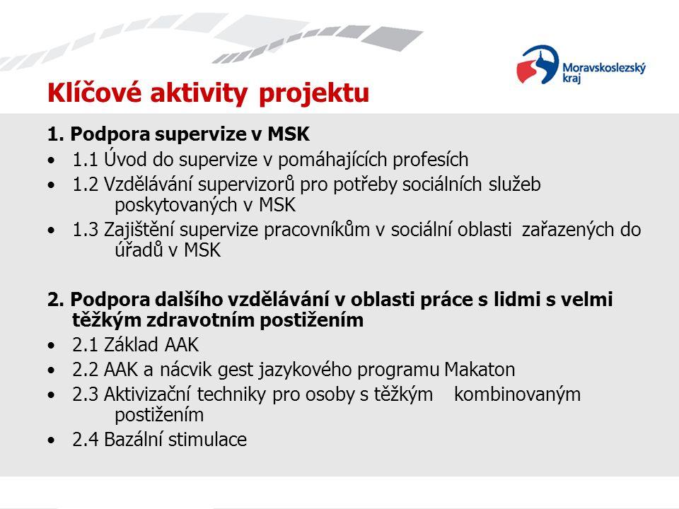 Klíčové aktivity projektu 1. Podpora supervize v MSK 1.1 Úvod do supervize v pomáhajících profesích 1.2 Vzdělávání supervizorů pro potřeby sociálních