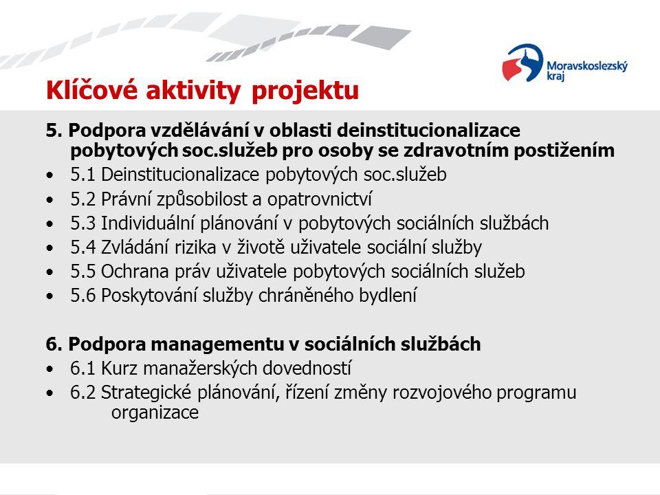 Klíčové aktivity projektu 5. Podpora vzdělávání v oblasti deinstitucionalizace pobytových soc.služeb pro osoby se zdravotním postižením 5.1 Deinstituc