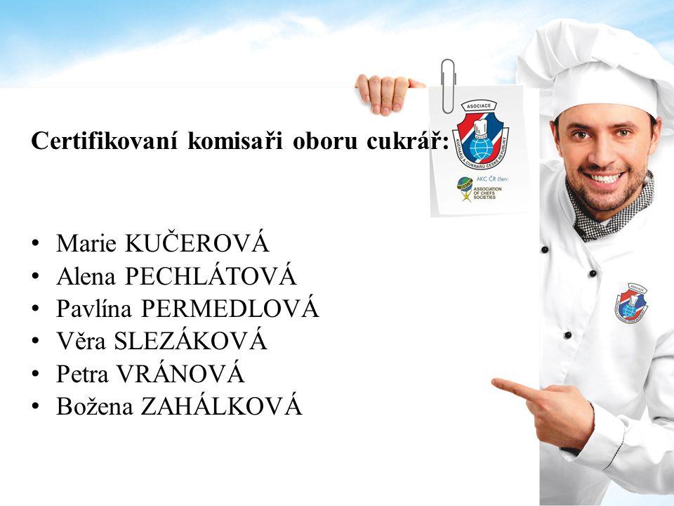 Certifikovaní komisaři oboru cukrář: Marie KUČEROVÁ Alena PECHLÁTOVÁ Pavlína PERMEDLOVÁ Věra SLEZÁKOVÁ Petra VRÁNOVÁ Božena ZAHÁLKOVÁ