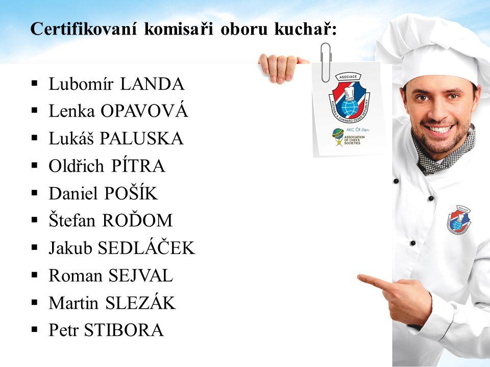 Certifikovaní komisaři oboru kuchař:  Lubomír LANDA  Lenka OPAVOVÁ  Lukáš PALUSKA  Oldřich PÍTRA  Daniel POŠÍK  Štefan ROĎOM  Jakub SEDLÁČEK 