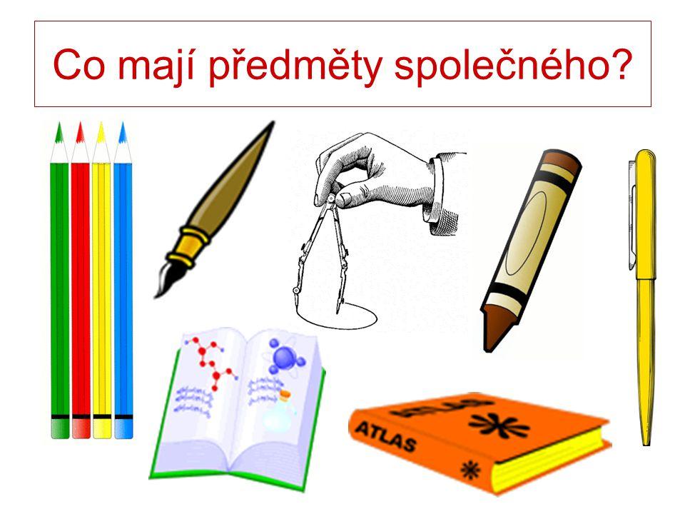 Soubor školních potřeb učebních pomůcek předmětů používaných při výuce