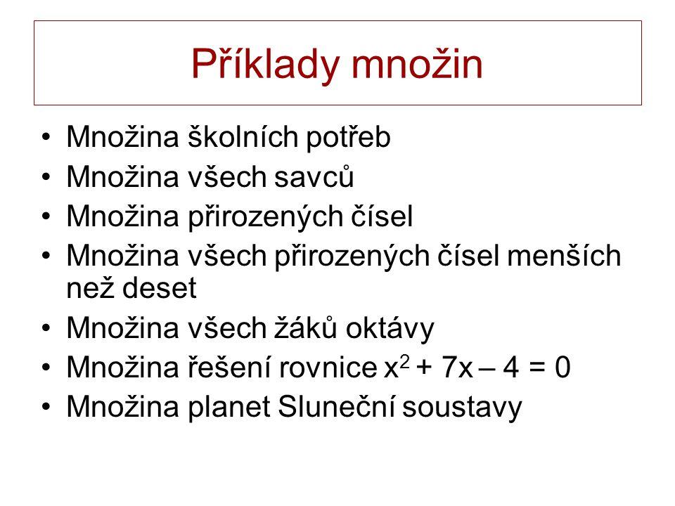 Příklady množin Množina školních potřeb Množina všech savců Množina přirozených čísel Množina všech přirozených čísel menších než deset Množina všech žáků oktávy Množina řešení rovnice x 2 + 7x – 4 = 0 Množina planet Sluneční soustavy