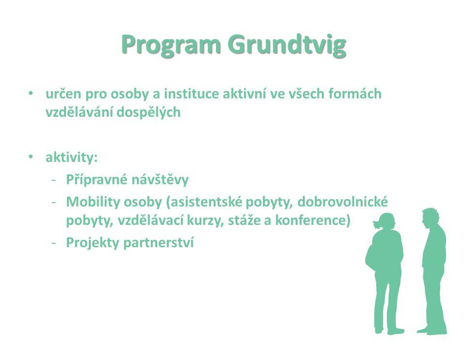 Program Grundtvig určen pro osoby a instituce aktivní ve všech formách vzdělávání dospělých aktivity: -Přípravné návštěvy -Mobility osoby (asistentské pobyty, dobrovolnické pobyty, vzdělávací kurzy, stáže a konference) -Projekty partnerství