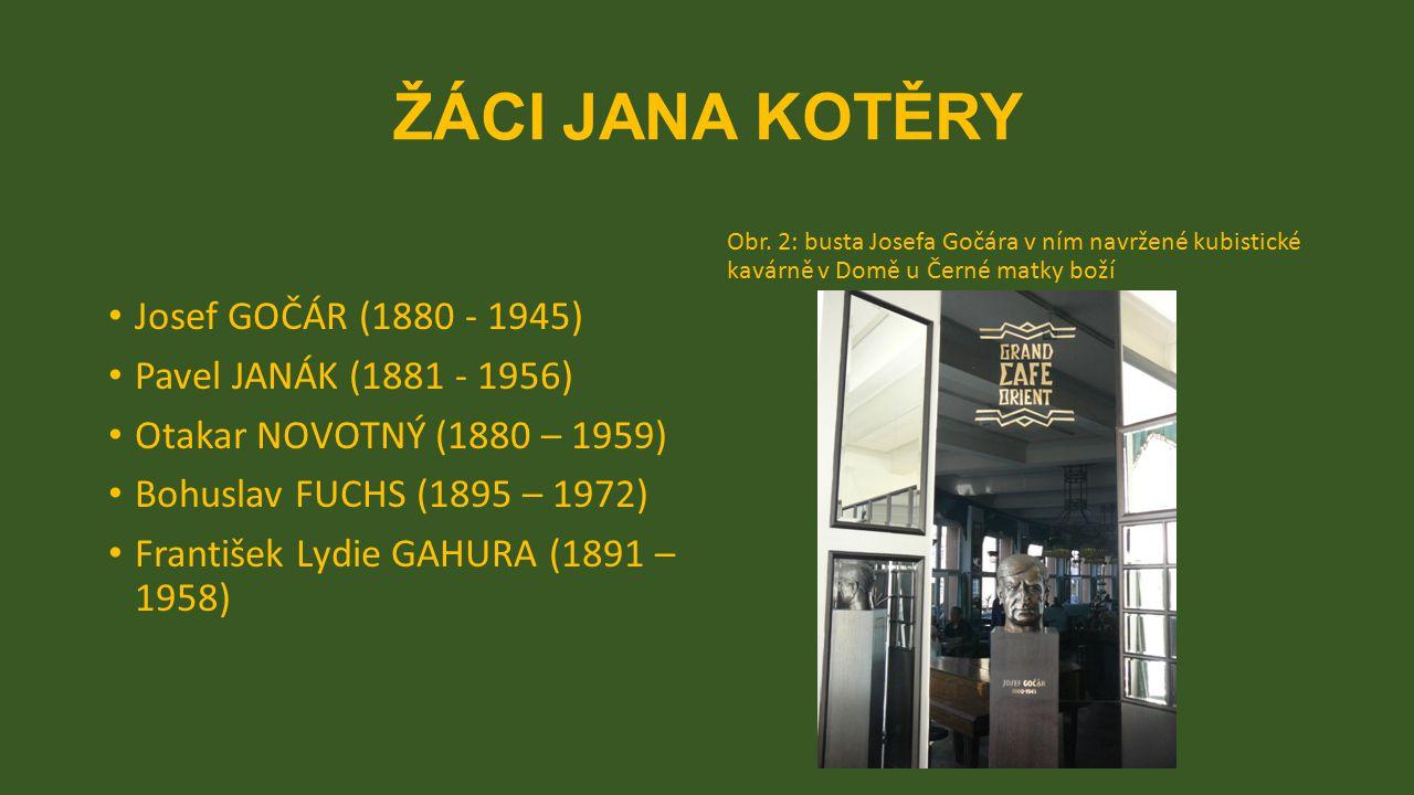 ŽÁCI JANA KOTĚRY Josef GOČÁR (1880 - 1945) Pavel JANÁK (1881 - 1956) Otakar NOVOTNÝ (1880 – 1959) Bohuslav FUCHS (1895 – 1972) František Lydie GAHURA