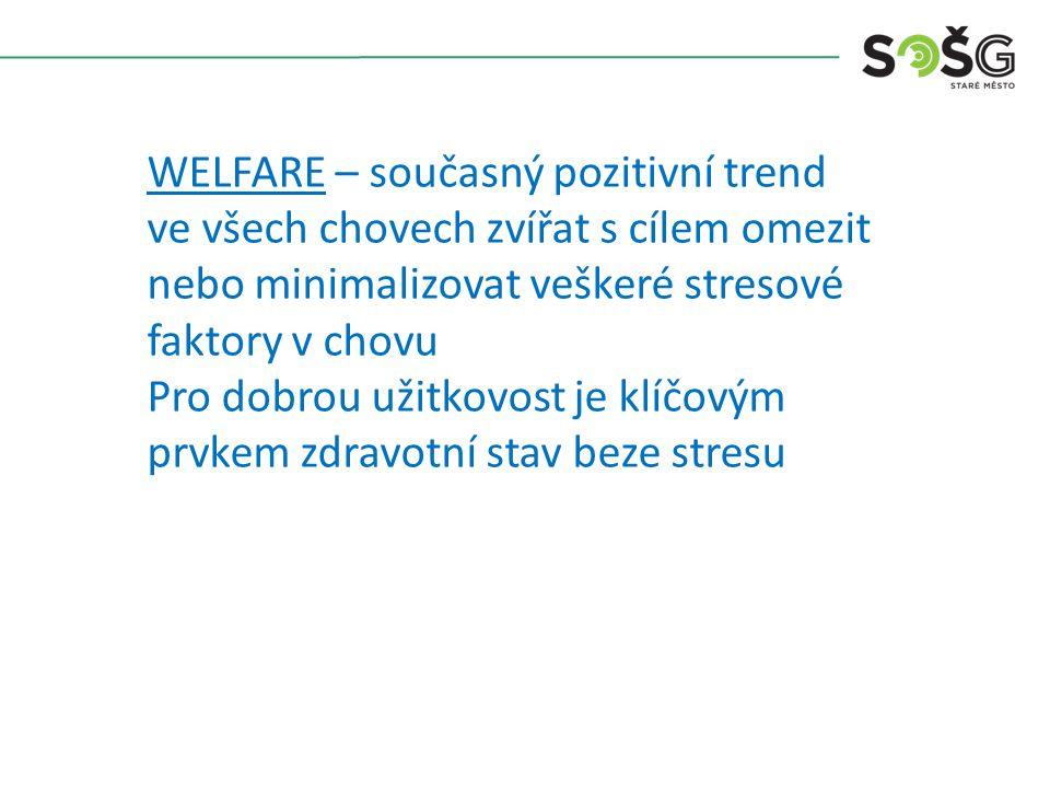 WELFARE – současný pozitivní trend ve všech chovech zvířat s cílem omezit nebo minimalizovat veškeré stresové faktory v chovu Pro dobrou užitkovost je