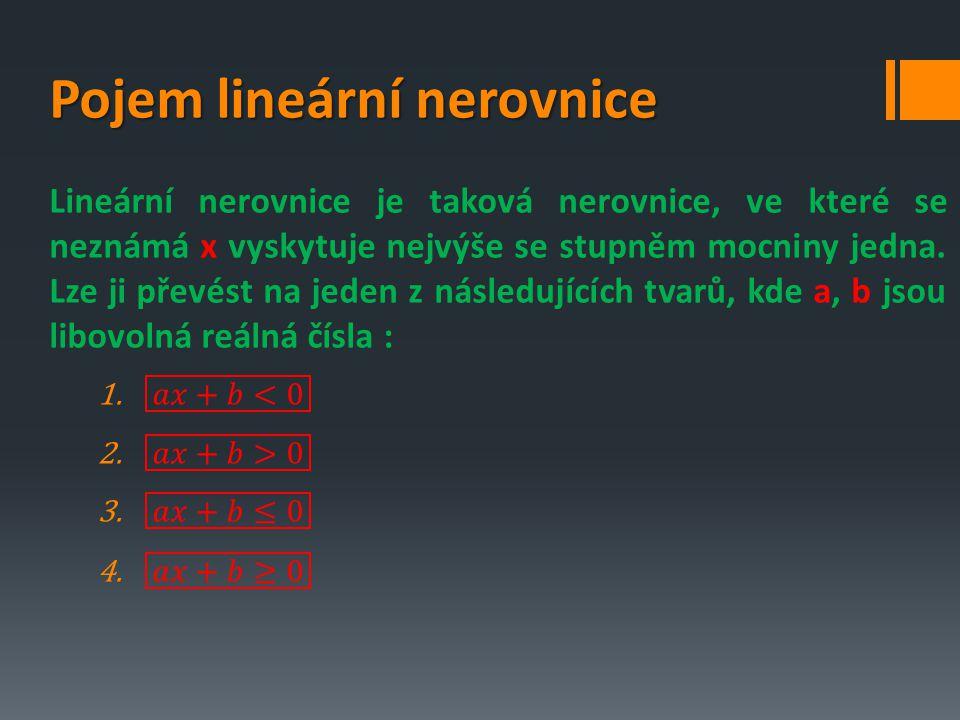 Doporučený postup řešení lineárních nerovnic s jednou neznámou 1.Provedení naznačených početních úkonů 2.Převedení členů s neznámou na jednu stranu nerovnice a členů bez neznámé na druhou stranu 3.Osamostatnění neznámé 4.Grafické znázornění výsledků řešení nerovnice 5.Ověření postupů (provedení zkoušky) 6.Zápis množiny K