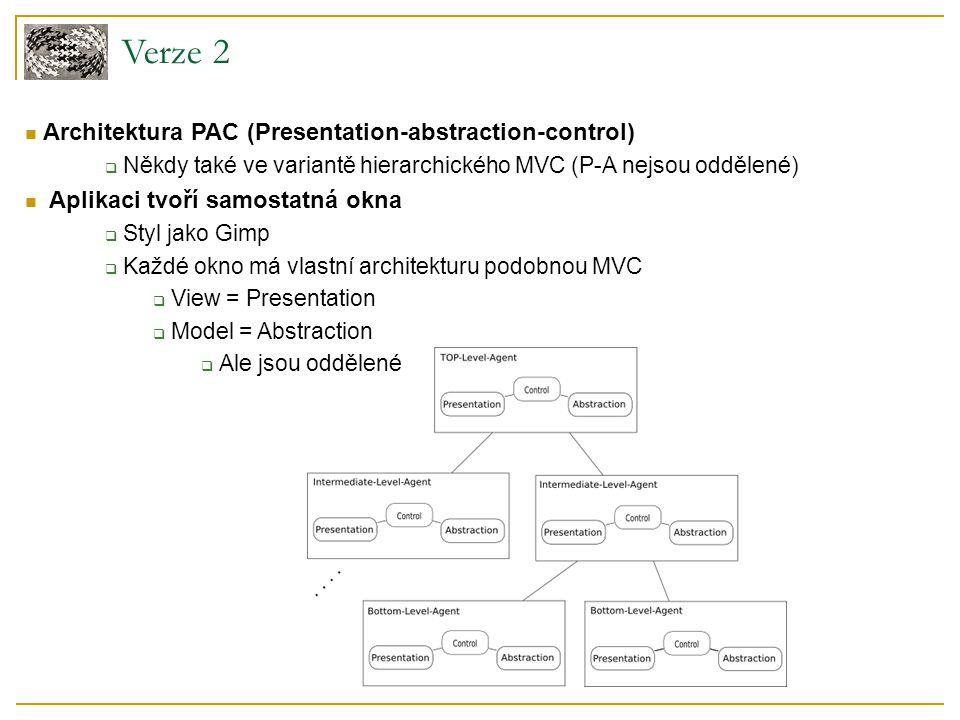 Verze 2 Architektura PAC (Presentation-abstraction-control)  Někdy také ve variantě hierarchického MVC (P-A nejsou oddělené) Aplikaci tvoří samostatná okna  Styl jako Gimp  Každé okno má vlastní architekturu podobnou MVC  View = Presentation  Model = Abstraction  Ale jsou oddělené