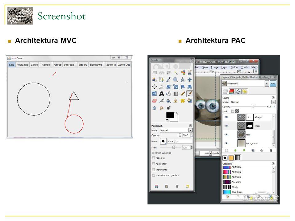 """Návrhové vzory Composite Pro strukturu umožňující seskupování objektů Visitor Pro vykreslování Command Pro reakci mezi nástroji a kreslící plochou Možnost """"Undo Mediator Komunikace mezi panely aplikace Observer Sledování změn modelu"""