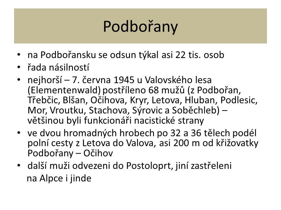 Podbořany na Podbořansku se odsun týkal asi 22 tis. osob řada násilností nejhorší – 7. června 1945 u Valovského lesa (Elementenwald) postříleno 68 muž