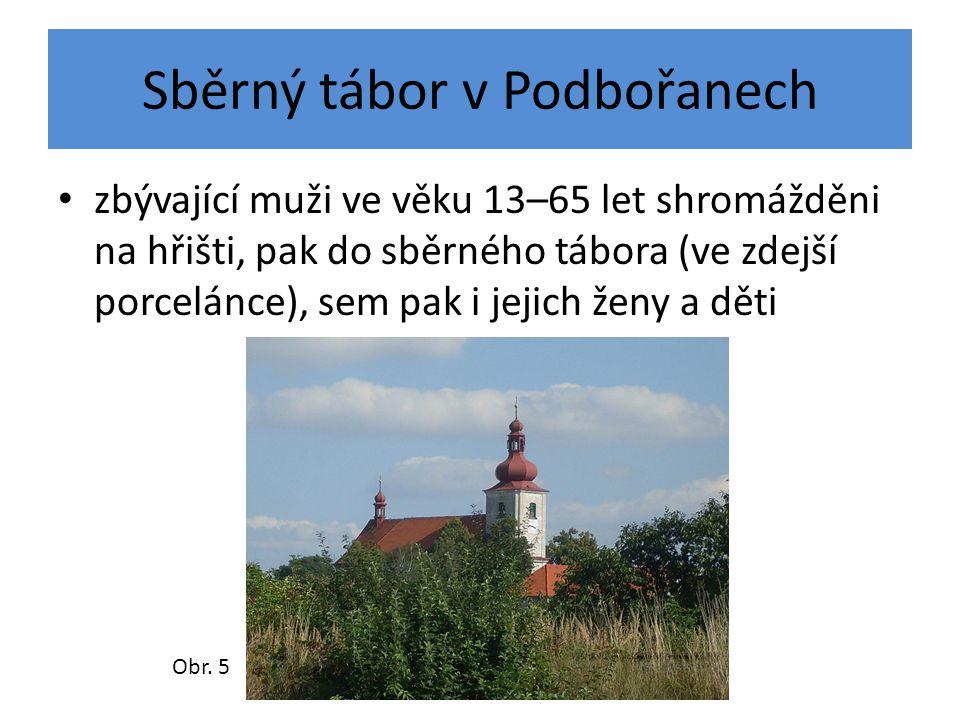 Sběrný tábor v Podbořanech zbývající muži ve věku 13–65 let shromážděni na hřišti, pak do sběrného tábora (ve zdejší porcelánce), sem pak i jejich žen