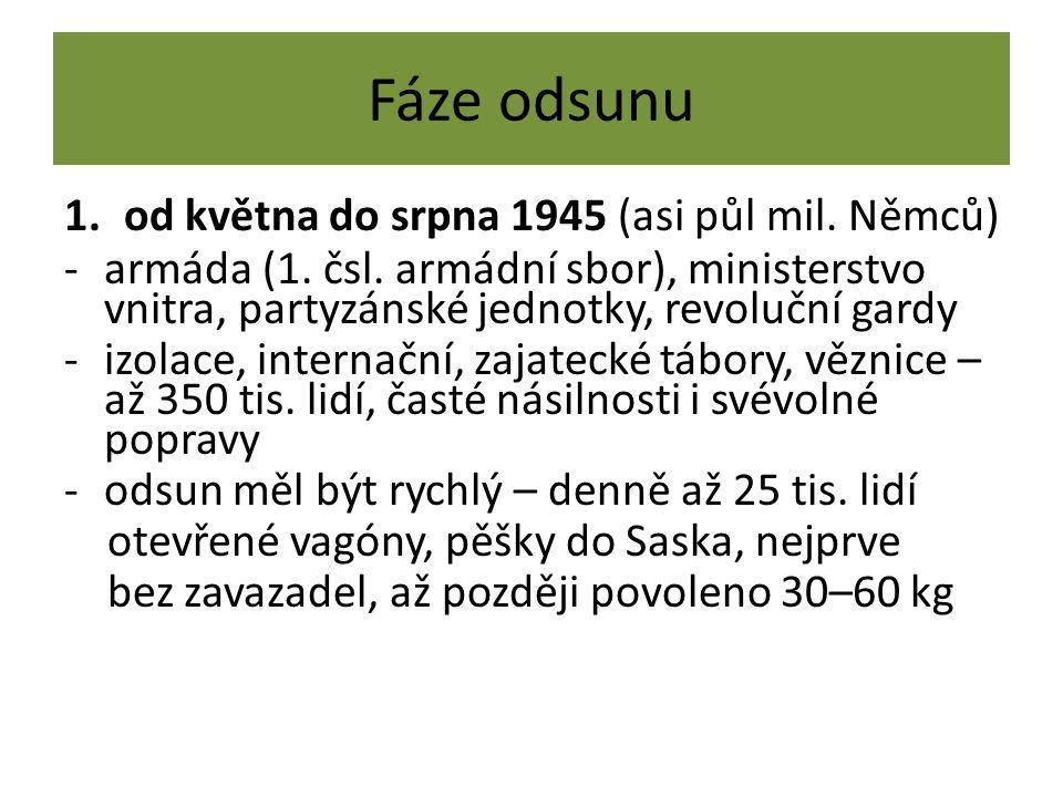 Fáze odsunu 1.od května do srpna 1945 (asi půl mil. Němců) -armáda (1. čsl. armádní sbor), ministerstvo vnitra, partyzánské jednotky, revoluční gardy