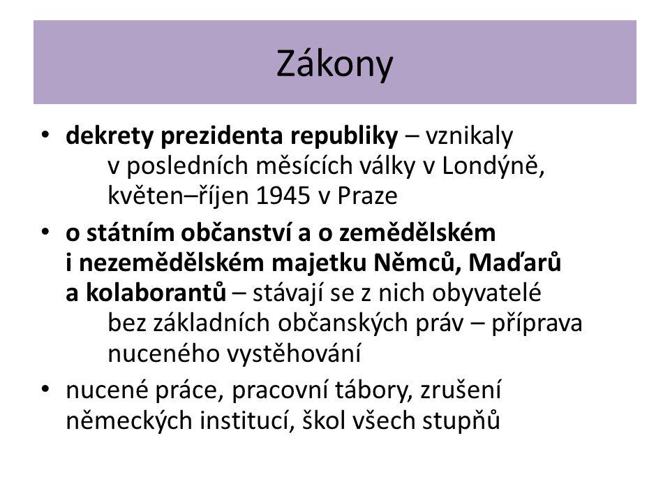 Zákony dekrety prezidenta republiky – vznikaly v posledních měsících války v Londýně, květen–říjen 1945 v Praze o státním občanství a o zemědělském i