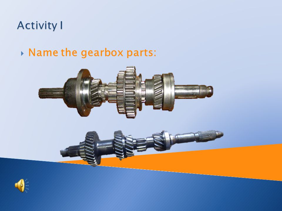  Name the gearbox parts: