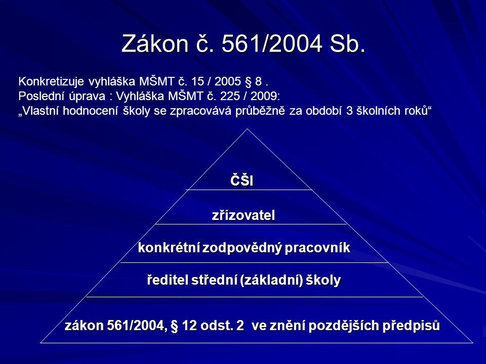 """Zákon č. 561/2004 Sb. Konkretizuje vyhláška MŠMT č. 15 / 2005 § 8. Poslední úprava : Vyhláška MŠMT č. 225 / 2009: """"Vlastní hodnocení školy se zpracová"""