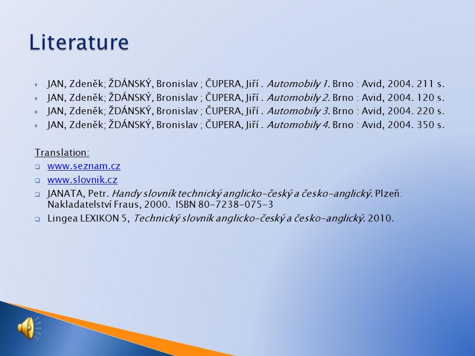  JAN, Zdeněk; ŽDÁNSKÝ, Bronislav ; ČUPERA, Jiří.Automobily 1.